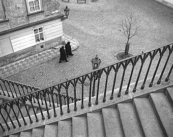 Prague Photography, Cobblestones and Stairs, Prague Fine Art Photo, Travel photo, Prague Street Photography