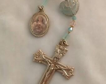 Girls First Communion Rosary Handmade One Decade Brass Artisan Tenner Unique Catholic Prayer Beads, Girls Catholic First Communion Gift