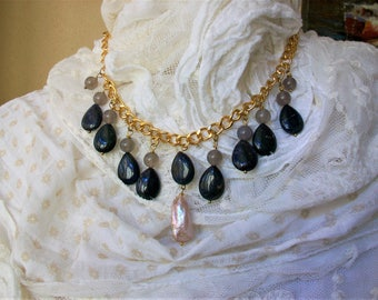 Necklace and earrings with lapis lazuli drops, tourmaline and baroque cultivated pearls, handmade