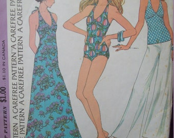Swimsuit, Dress, Top, and Pants Vintage 1970s McCall's Pattern 3606 Size 12 Uncut Factory Fold