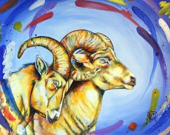 Original Acrylic Painting - Original Animal Art - Big Horn Painting - Sheep Art