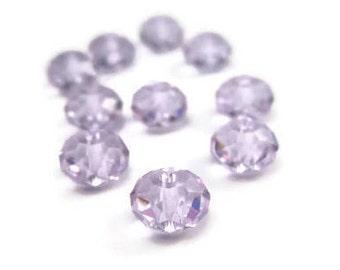 10 Violet Swarovski Crystal Beads 6mm Rondelle Style 5040 Crystal Spacer