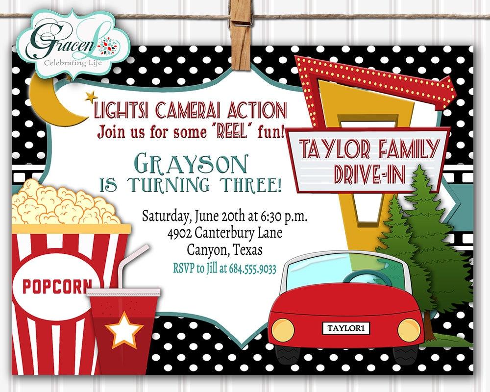 Drive-in Movie Invitation Outdoor Movie Party Invitation