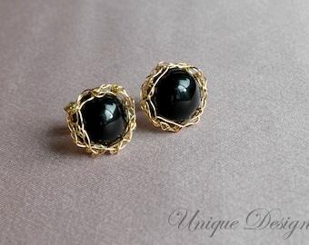 Gold filled crochet earrings - onix post earrings, under 30 USD gift for her