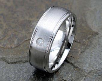 Cobalt Wedding Band, 0.07ct. White Diamond, Mens Wedding Band, Mens Ring, 8mm Wedding Ring, Mens Diamond Ring, Cobalt Wedding Ring