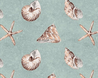 Beach Fabric Cotton Quilting Sewing Crafting Fabrics Sand and Sea Wilmington Prints Shells Allover Sea 86402-412( 1/2 yd) cut