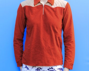 Vintage 70's boys velour color blocked shirt, long sleeved polo, Rust brown / red and Tan - Youth Large / Adult XS