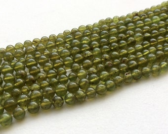 WHOLESALE 5 Strands Vessonite Beads, Plain Green Vessonite Round Beads, Vessonite Necklace, 4.5-5mm Beads - RAMA151