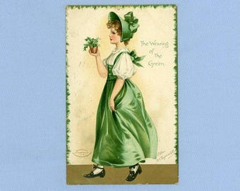 Postcard, St. Patrick's Day, Artist Clapsaddle Illustration, Irish Maid, 1908