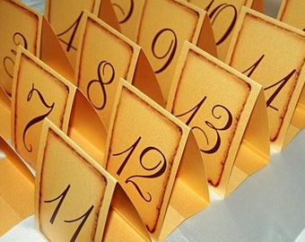 Gold Wedding table numbers - Vintage style Tented Wedding Table Number Signs, Double Sided Table Cards, Tented Table Number