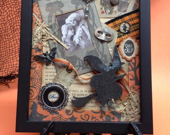 Beaux Arts Ball, Paris - EHAG, Original OOAK, Halloween mixed media collage, shadow frame, vintage photo copy, ephemera, by Alycia Matthews