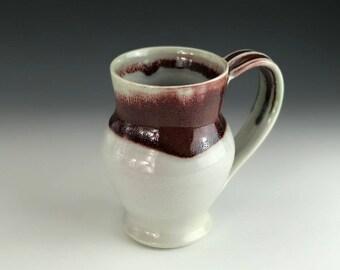 handmade pottery mug - coffee mug - ceramic mug - hand thrown ceramic mug - red and white mug - christmas mug - handmade coffee cup - mug