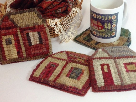 Rug Hooking PATTERN, Little House Mug Rugs, J805, Primitive Rug Hooking Design, DIY Rug Hooking, DIY Coasters