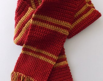 Red & Gold Scarf // Striped Scarf // Costume Scarf // Cosplay Scarf // Nerdy Scarf // Nerd Gift