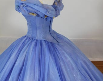 UPGRADED - Cinderella Disney Dress - Costume / Cosplay Gown - 2015 Live Action Movie - Women - Custom Size