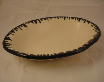 Serving Bowl, Black and White  with a Cityscape Design
