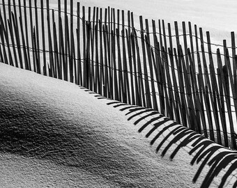 Drifted Snow, Wind-blown, Drift Fence, Shadows, Abstract, Minimalism, Landscape, B&W Fine Art Photo, Download, Wall Art, Poster, #_2250197V