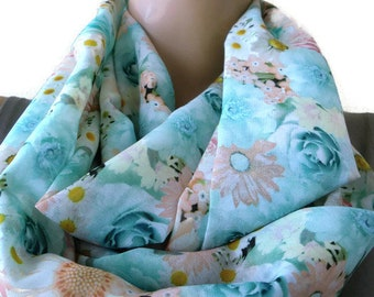 Pastel Pink spring floral Chiffon Infinity scarf  cowl   Necklace scarf -Tube version