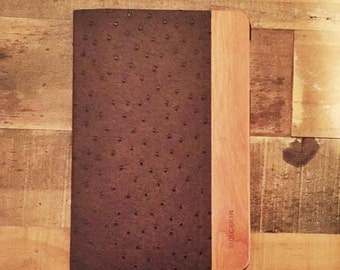 IPAD MINI 1,2,3 CASE in American Cherrywood and Ostrich Dark Brown Leather