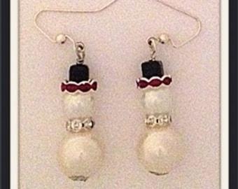 Handmade MWL Christmas or Winter snowman dangle earrings 0009