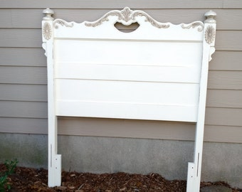 Twin Headboard - Old White - Painted and Distressed