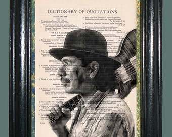 Santana - Vintage Dictionary Page Art Print Upcycled Book Page Art Collage Art Print