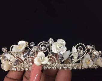 Real Mother Of Pearl Flowers and Leaves On A Silver Hand Wired Tiara With Swarovski Crystals and Abalone Accents.