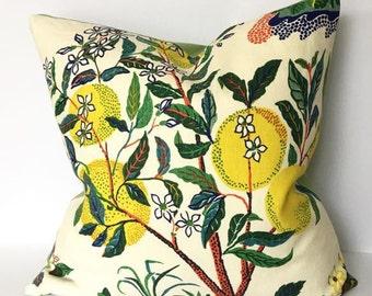 Schumacher Citrus Garden Pillow Cover in Blue