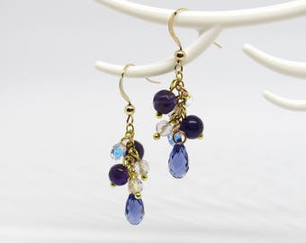 Silver plated cluster earrings gold Gold Filled and Swarovski Tanzanite Crystal