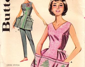 1960s Butterick 9982 UNCUT Vintage Sewing Pattern Misses Cobbler Apron, Full Apron, Half Apron, Tea Apron, Cross Stitch Apron Size Large