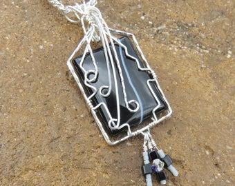 S-134 Sardonyx Silver Wire Wrapped Pendant Necklace, Sardonyx Pendant, Sardonyx Necklace, Sardonyx Jewelry