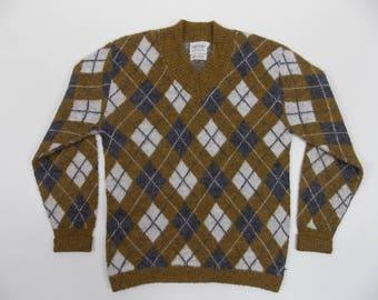 1960's Argyle V-Neck Sweater Arrow Label Mens