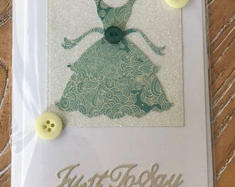 Party Dress Greetings Card with Buttons