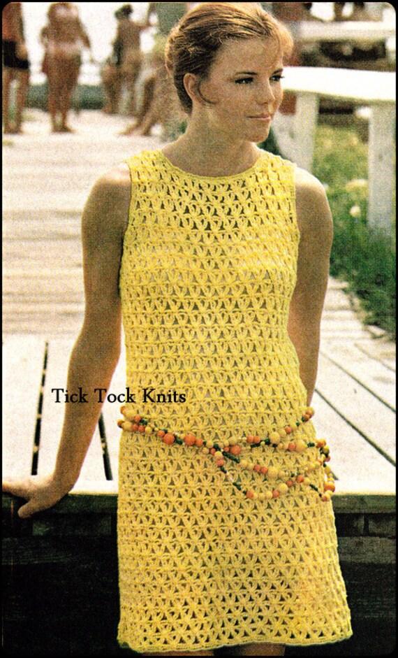 No.277 PDF häkeln Muster Vintage Damen Gitter Shell Kleid