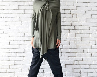 Khaki Loose Tunic/Asymmetric Oil Green Top/Extravagant Casual Shirt/Long Sleeve Top/Plus Size Blazer/Dark Green Tunic Top/Street Fashion