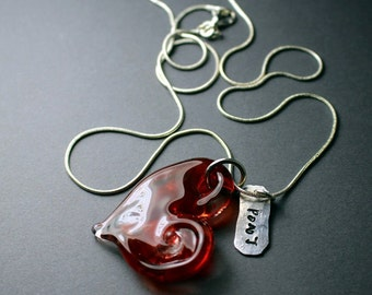 "Lamp Work ""Love"" Heart Pendent"