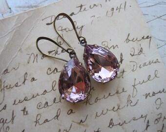 Violets in Winter~ light purple earrings, pale amethyst, light amethyst earrings, purple rhinestone earrings, small dangle earrings