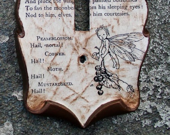 Shakespeare Midsummer Night's Dream Decoupage Library Book Switch Plate Cover