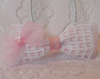 White/pink hairbow, Unique window pane bow, child's pink/white bow