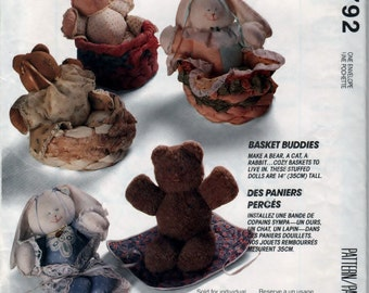 McCalls Crafts 5792 Pattern Stuffed Animal Dolls In Basket 14 Inch OOP