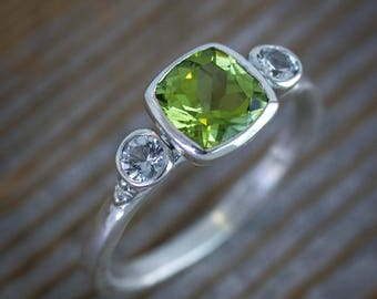 Green Peridot and White Sapphire Three Stone Ring, Anniversary or Family Ring, August Birthstone Jewelry for her, Birthday gift