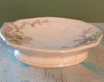 Vintage Porcelain Cream White Floral Shabby Trinket - Soap Dish