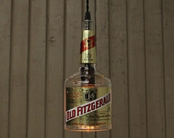 Old Fitzgerald Bottle Pendant Light - Upcycled Industrial Glass Ceiling Light - Handmade Bourbon Bottle Light Fixture, Recycled Lighting