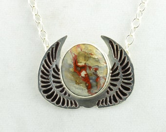 Etched Sterling Silver Pendant, Handmade Necklace, Necklace For Women, Gift Under 75, Red Jewelry, Moroccan Crimson Agate