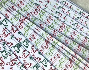Red & Green Music Notes~ Moravian German Froebel Star Paper (52 strips)