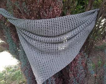 Crochet sage green triangle shawl. Boho and hippy style crochet shawl