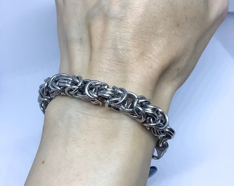 Steel bracelet, steel, men or women, Byzantine link bracelet