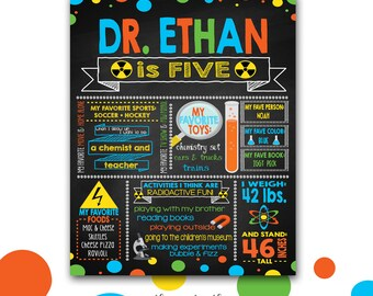 Mad Scientist Birthday Poster, Birthday Chalkboard Poster, Science Party Sign, Chemistry Party, Boys, Photo Prop, Printable or Printed