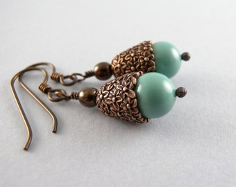 Turquoise and Copper Everyday Floral Swarovski Glass Pearl Earrings with Free USA Shipping