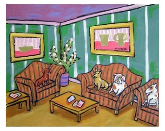Dogs in the Waiting Room Art Print
